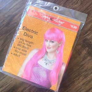 "Electric Diva Halloween Accessory- Pink 24"" wig"